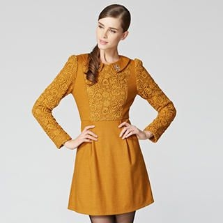 O.SA - Wool-Blend Crochet-Panel Collared A-Line Dress