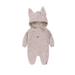 MOM Kiss - Baby Embroidered Rabbit Ear Hooded One-Piece