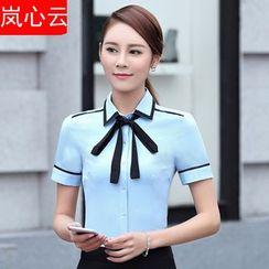 Skyheart - 套装: 配色边短袖西装衬衫 + 短裙