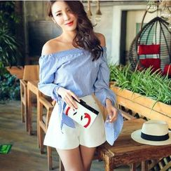 Tang House - Off-shoulder Bow Blouse