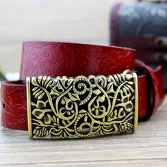 Coco Rush - Filigree Buckle Embossed Genuine Leather Belt