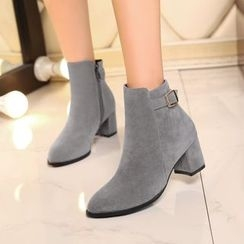 Pastel Pairs - Chunky Heel Pointed Ankle Boots