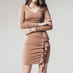 Aurora - Long-Sleeve Sheath Ruffle Party Dress