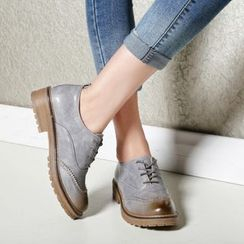 Pretty in Boots - Chunky Heel Brogue Oxfords