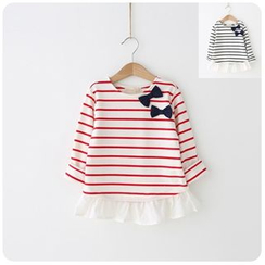 Rakkaus - Kids Ruffled Stripe Bowed Top