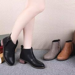 YIVIS - Faux Leather Block Heel Short Boots