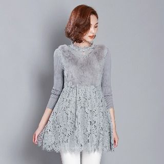Romantica - Long-Sleeve Paneled Lace Long Top