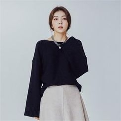 MAGJAY - Wool Blend Boatneck Knit Top