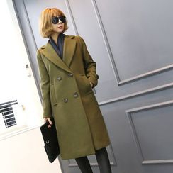 DANI LOVE - Double-Breasted Wool Blend Long Coat