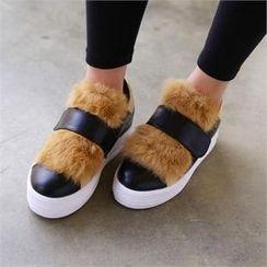 PINKSISLY - Faux-Fur Platform Sneakers
