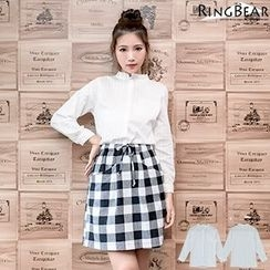 RingBear - Long  Sleeve Pleated Shirt