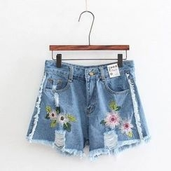 Aigan - Distressed Embroidery Denim Shorts