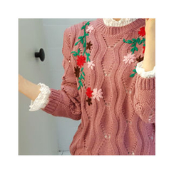 LEELIN - Wool Blend Embroidered Sweater