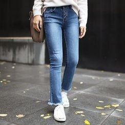 STYLEBYYAM - Fray-Hem Straight-Cut Jeans