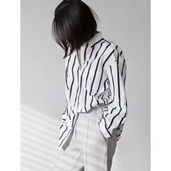 FROMBEGINNING - Striped Loose-Fit Shirt