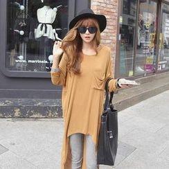 REDOPIN - Dolman-Sleeve Dip-Back T-Shirt Dress