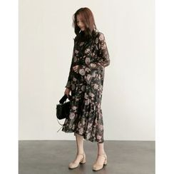 UPTOWNHOLIC - Round-Neck Floral Print Long Dress