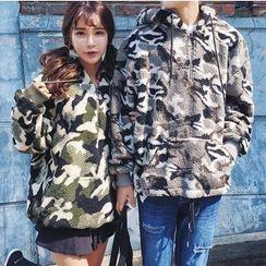Bay Go Mall - Couple Matching Camo Fleece Hoodie