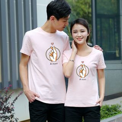 Matcha House - Couple Matching Hand Print Short-Sleeve T-Shirt / Shorts