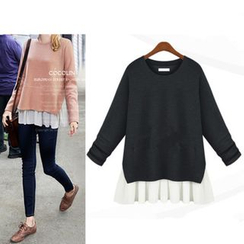 VIZZI - Flounced Hem Knit Long-Sleeved T-Shirt