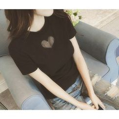 ENZA - Heart Mesh Panel Short-Sleeve T-shirt