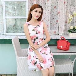 Sienne - Rose Print Sleeveless A-line Chiffon Dress