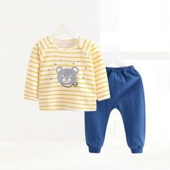 ciciibear - Kids Set: Stripe Long-Sleeve Top + Sweatpants