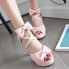 Sidewalk - Bow Platform High Heel Sandals
