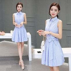 lilygirl - Stripe Sleeveless Shirtdress