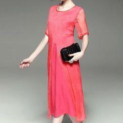 Alaroo - Slit A-line Silk Dress