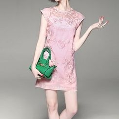 Alaroo - 套裝: 蓋袖刺繡連衣裙 + 繫帶連衣裙