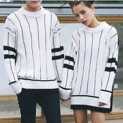Bay Go Mall - Couple Matching Striped Sweater
