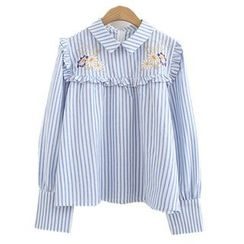ninna nanna - Embroidered Striped Blouse