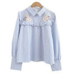 ninna nanna - 刺绣条纹衬衫