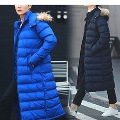 Bay Go Mall - Furry Trim Hooded Long Padded Coat