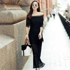 Lovi - Trumpet-Sleeve Chiffon Dress