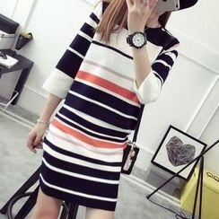 TIMI - Set: 3/4-Sleeve Striped Sweater + Knit Skirt