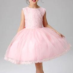 HELLO BABY - 童装饰蕾丝无袖薄纱连衣裙