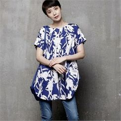 HALUMAYBE - Short-Sleeve Floral Patterned Blouse