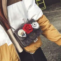 薇薇 - 花形装饰绗缝植毛绒斜挎包