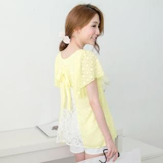 Tokyo Fashion - Short-Sleeved Slit-Back Lace Top