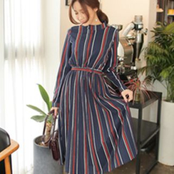 Cherryville - Mock-Neck Striped Dress with Belt