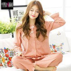 SHIRLEY - Pajama Set: Lace Trim Long Sleeve Top + Pants