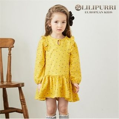 LILIPURRI - Girls Floral Print Ruffle-Hem Dress