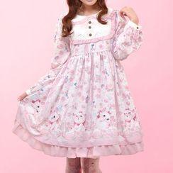 GOGO Girl - Cat Print Long-Sleeve Dress