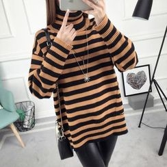 anzoveve - Striped Turtleneck Sweater