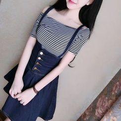 Mi Camilla - Set: Off-Shoulder Striped Top + Denim Jumper Skirt