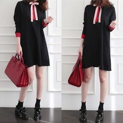 EFO - Long-Sleeve Contrast-Color Dress