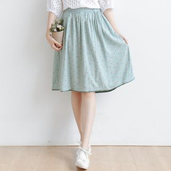 Forest Girl - Floral Print A-line Skirt