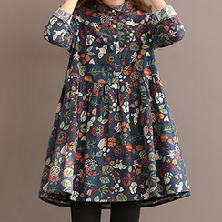 Fancy Show - Long-Sleeve Printed A-Line Dress